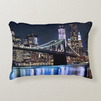 View of New York's Brooklyn bridge reflection Accent Pillow