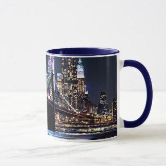 View of New York's Brooklyn bridge reflection Mug