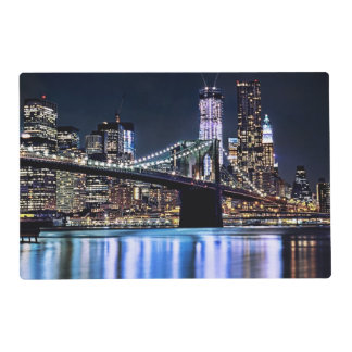 View of New York's Brooklyn bridge reflection Laminated Place Mat