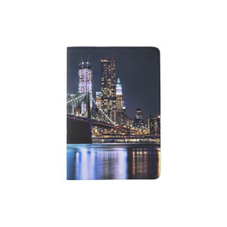View of New York's Brooklyn bridge reflection Passport Holder