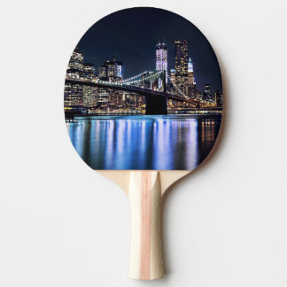 View of New York's Brooklyn bridge reflection Ping Pong Paddle
