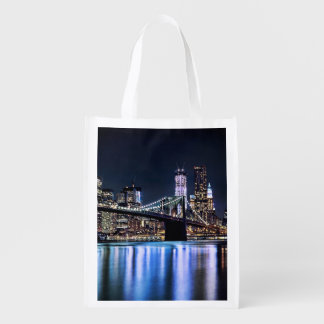 View of New York's Brooklyn bridge reflection Reusable Grocery Bag