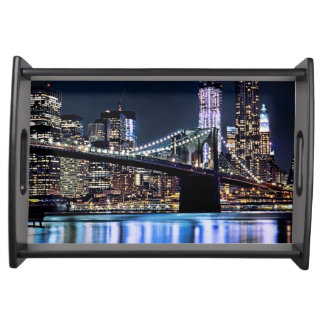 View of New York's Brooklyn bridge reflection Serving Tray