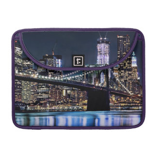 View of New York's Brooklyn bridge reflection Sleeve For MacBooks