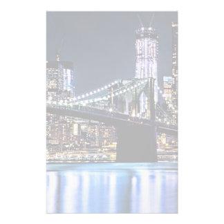 View of New York's Brooklyn bridge reflection Stationery