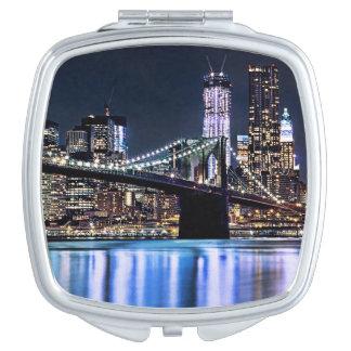 View of New York's Brooklyn bridge reflection Vanity Mirror