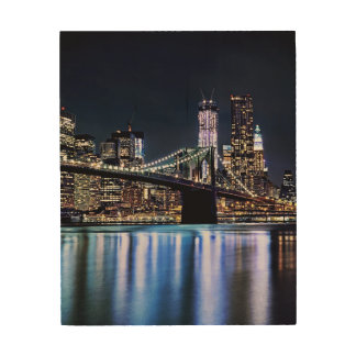 View of New York's Brooklyn bridge reflection Wood Print