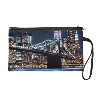 View of New York's Brooklyn bridge reflection Wristlet Purse