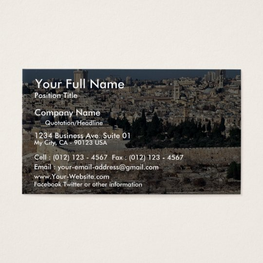View of Old City from Mount of Olives, Jerusalem, Business Card