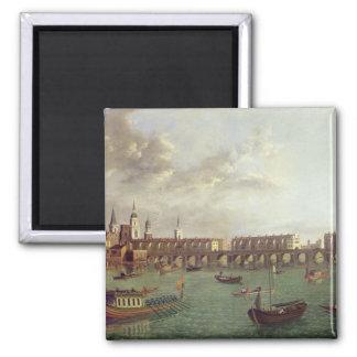 View of Old London Bridge Square Magnet