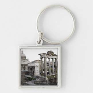 View of old ruin Silver-Colored square key ring