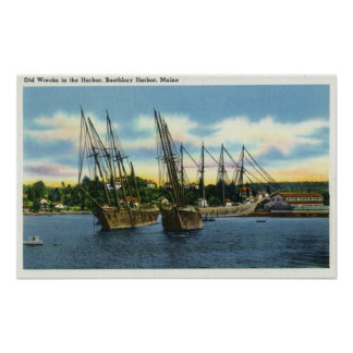 View of Old Shipwrecks in the Harbor Posters