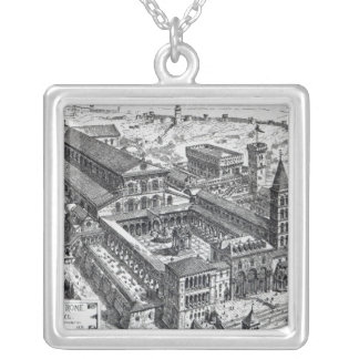 View of Old St.Peter's, Rome, 1891 Silver Plated Necklace