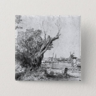 View of Omval, near Amsterdam, 1645 15 Cm Square Badge