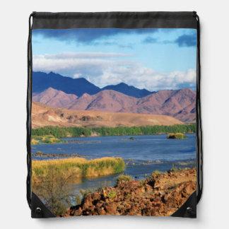 View Of Orange River, Richtersveld Transfrontier Drawstring Bag