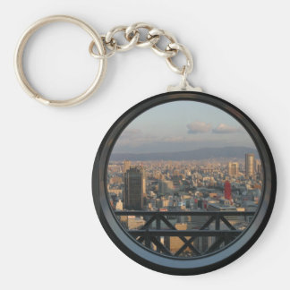 View of Osaka Japan from Umeda Sky building Basic Round Button Key Ring