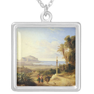 View of Palermo, 1840 Silver Plated Necklace