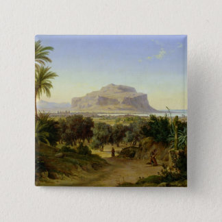 View of Palermo with Mount Pellegrino 15 Cm Square Badge