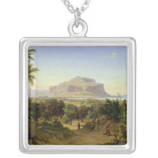 View of Palermo with Mount Pellegrino Silver Plated Necklace