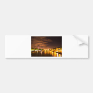 view of paris france at night and the Seine river Car Bumper Sticker