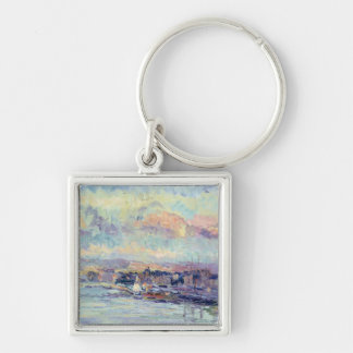 View of Paris (oil on canvas) Silver-Colored Square Key Ring
