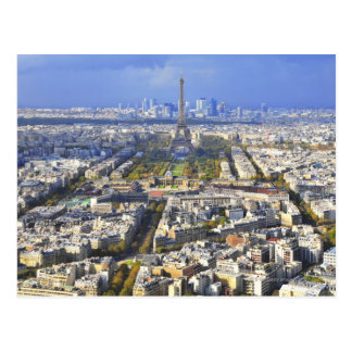 View of Paris with Eiffel Tower and La Defence Postcard