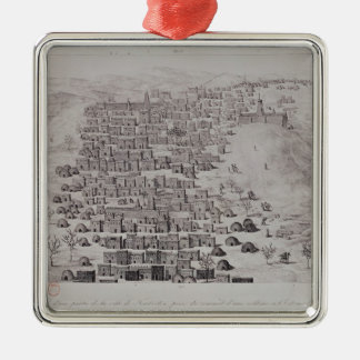 View of part of the town of Timbuktu from a hill Silver-Colored Square Decoration