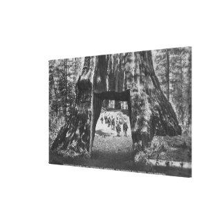 View of Pioneers Cabin, Men on Horseback Canvas Print