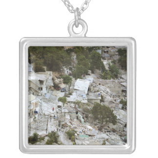 View of Port-au-Prince, Haiti Silver Plated Necklace