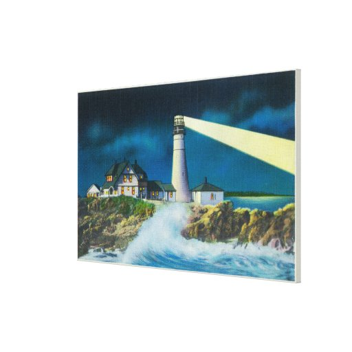 View of Portland Head Lighthouse on Casco Bay Gallery Wrap Canvas
