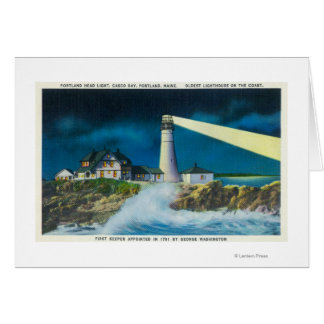 View of Portland Head Lighthouse on Casco Bay Greeting Card