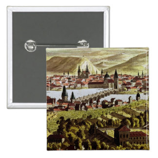 View of Prague 15 Cm Square Badge