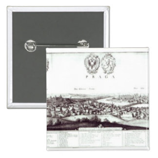 View of Prague, 1649 15 Cm Square Badge