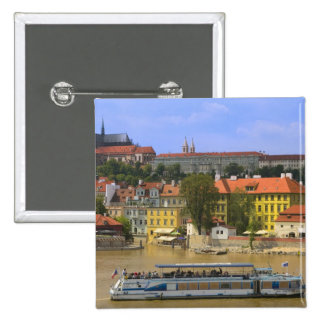View of Prague Castle and town by Vltava 15 Cm Square Badge