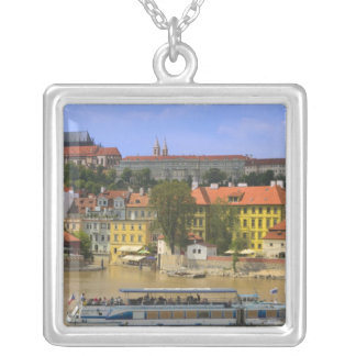 View of Prague Castle and town by Vltava Silver Plated Necklace