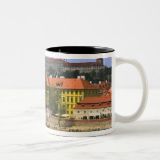 View of Prague Castle and town by Vltava Two-Tone Coffee Mug