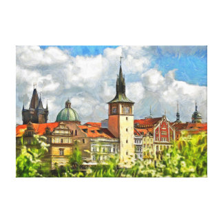 View of Prague from Streletsky Island. Canvas Print