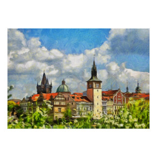 View of Prague from Streletsky Island Poster