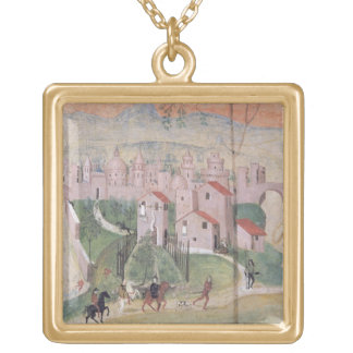 View of Prato City, detail from the Crucifixion, f Gold Plated Necklace