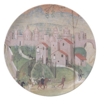 View of Prato City, detail from the Crucifixion, f Plate