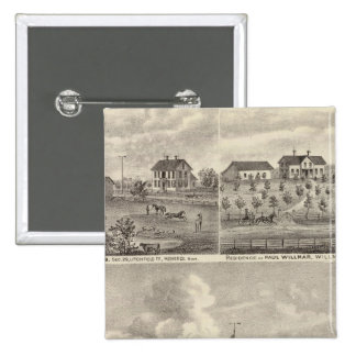 View of Public Park and Residence in Minnesota 15 Cm Square Badge