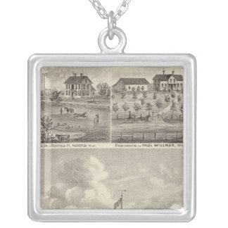 View of Public Park and Residence in Minnesota Silver Plated Necklace