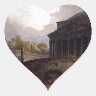View of Ripetta by Hubert Robert Heart Sticker