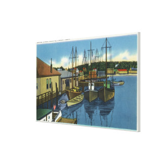 View of Sailboats Docked in the Harbor Canvas Print
