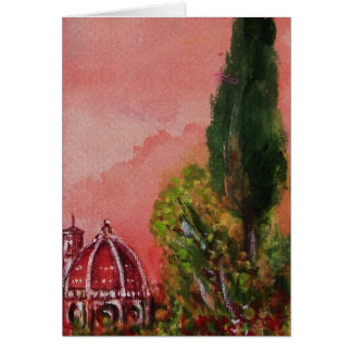 VIEW OF SAINT MARY OF FLOWER / FLORENCE IN SUNSET CARD