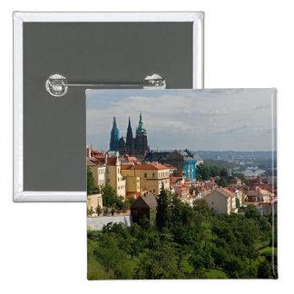 View of Saint Vitus's Cathedral, Prague, Czech 15 Cm Square Badge