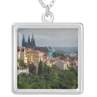 View of Saint Vitus's Cathedral, Prague, Czech Silver Plated Necklace