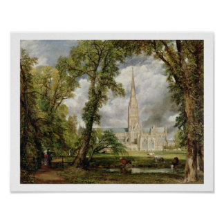 View of Salisbury Cathedral from the Bishop's Grou Poster