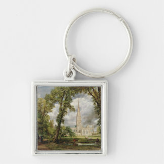 View of Salisbury Cathedral from the Bishop's Grou Silver-Colored Square Key Ring