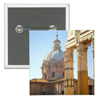 View of Santi Luca e Martina in the Roman Forum 15 Cm Square Badge